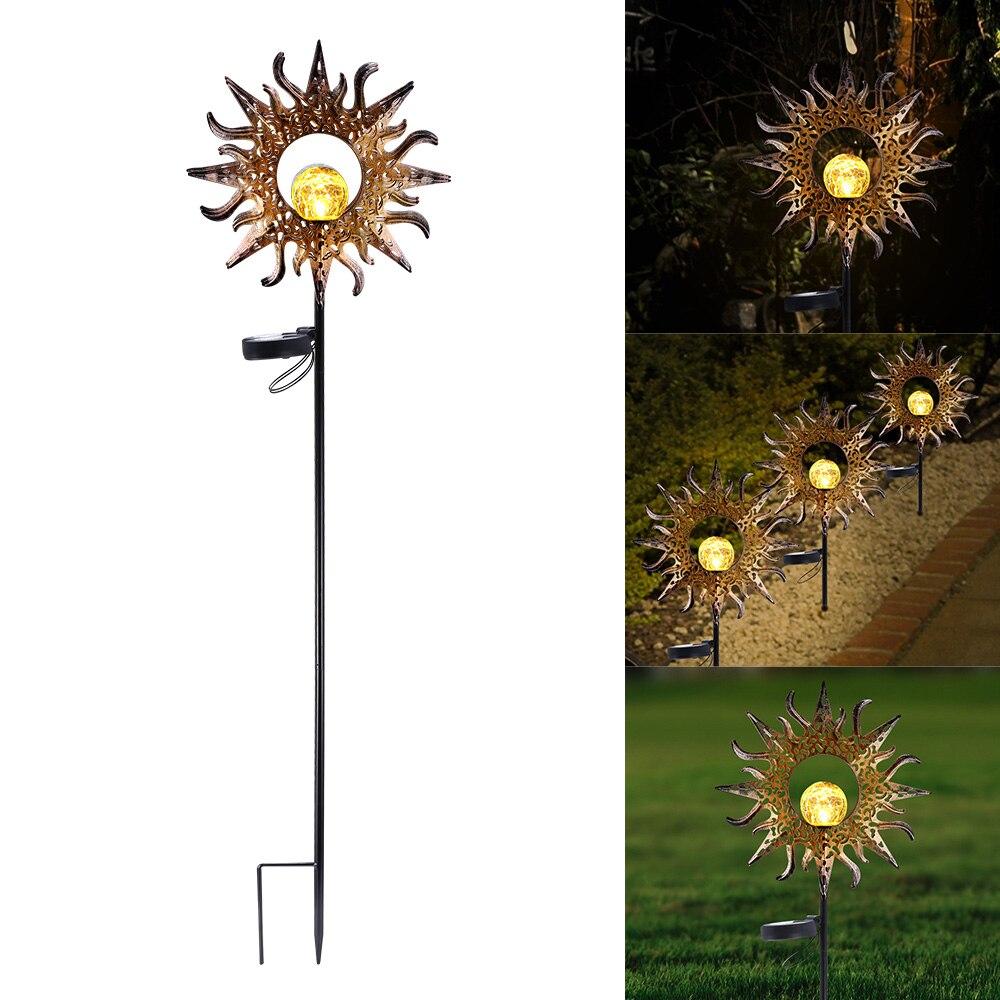 Lâmpada solar do jardim metal oco sol luz led branco quente à prova dlamp água solar para villa ao ar livre gramado passarelas