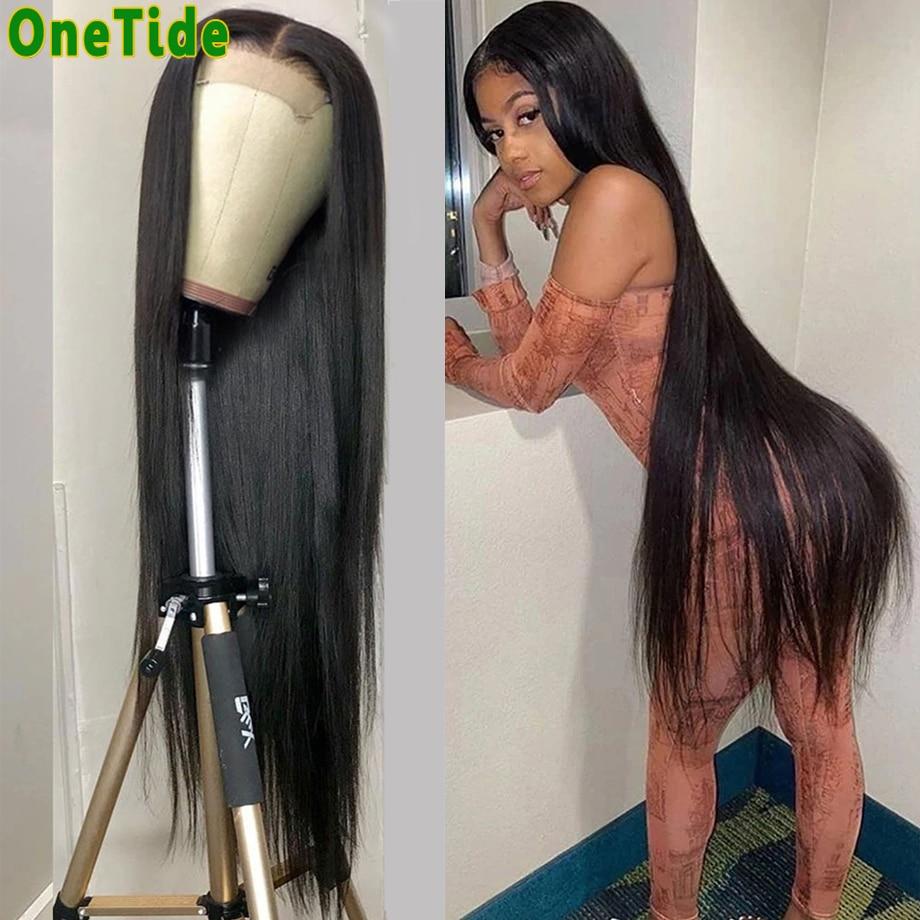30-40 дюймов с длинными прямыми волос Синтетические волосы на кружеве парик бразильский предварительно вырезанные Синтетические волосы на к...