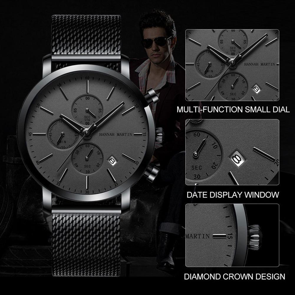 Reloj de pulsera de acero inoxidable resistente al agua y resistente al agua para hombre con fecha multifunción de cuarzo para hombre