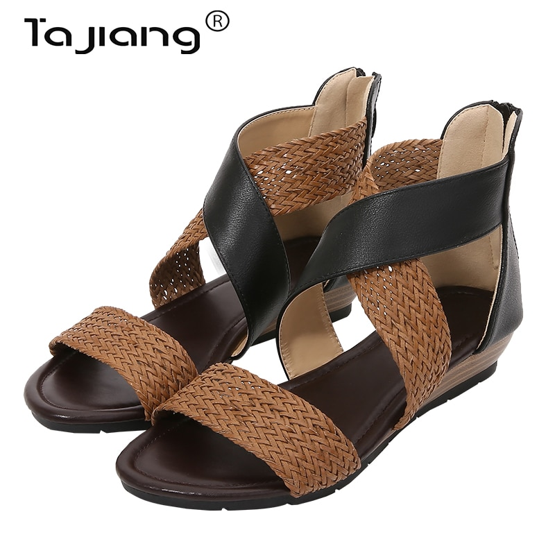 Ta Jiang New bohemian style braided belt wedge heel women's sandals, retro Roman shoes, summer women