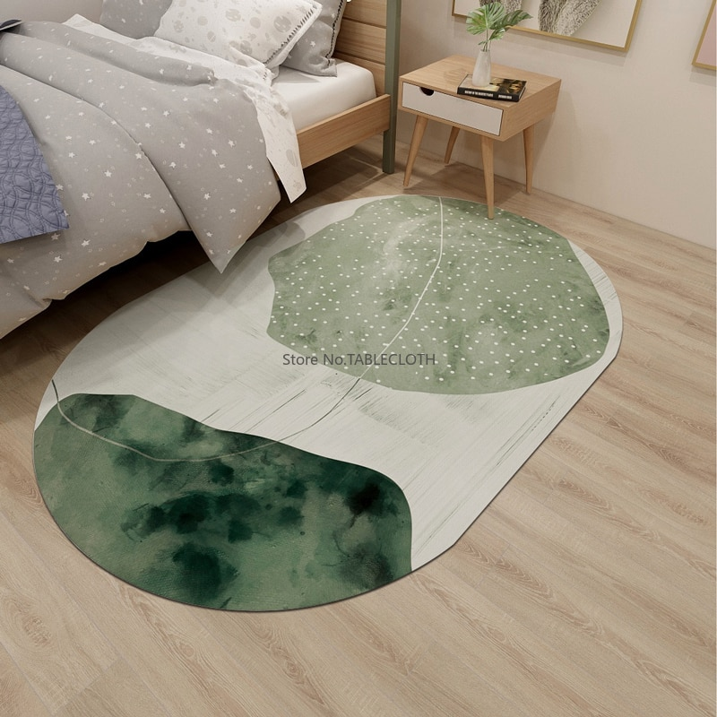 Simple Ins Carpet Living Room Coffee Table Blanket Nordic Light Luxury Floor Mat Bedroom Home Bedside Blanket Oval Washable