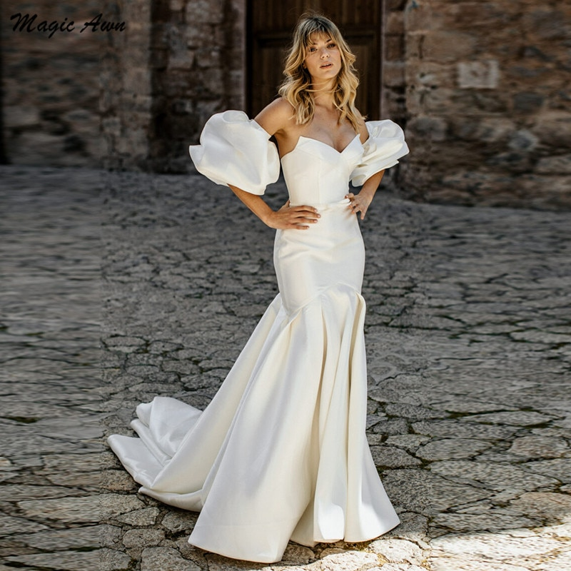 Get Magic Awn Boho Mermaid Wedding Dresses Satin Sweethrat Detachable Short Puff Sleeve Simple Mariage Gowns For Bride Vestidos 2022