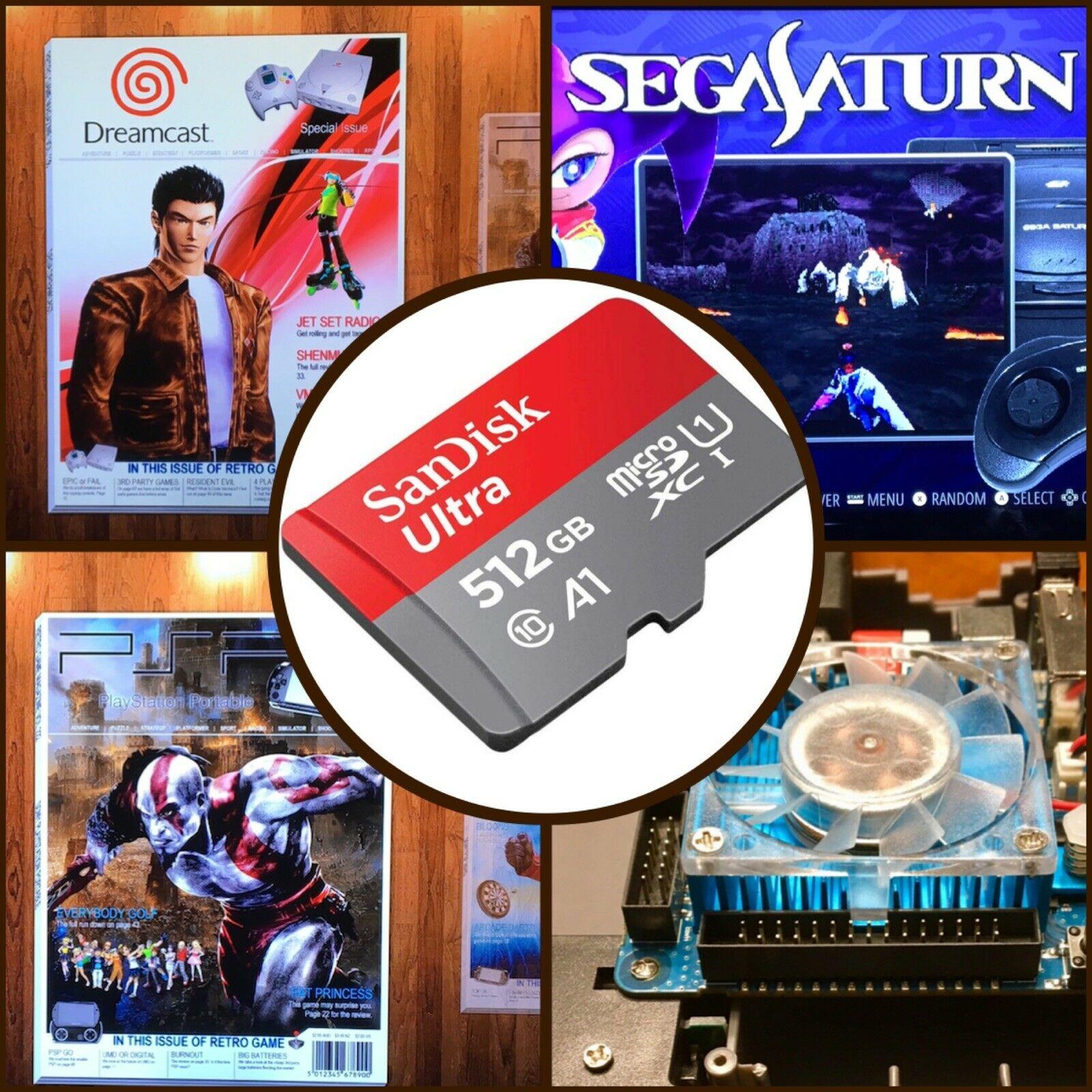 Retropie-بطاقة SD متعددة المحاكي ، 512 جيجا بايت ، Ora v1.65 ، Sega Saturn PSP N64 Naomi ، لـ ODROID XU4 20,000 لعبة محملة مسبقًا ، boxart 3D
