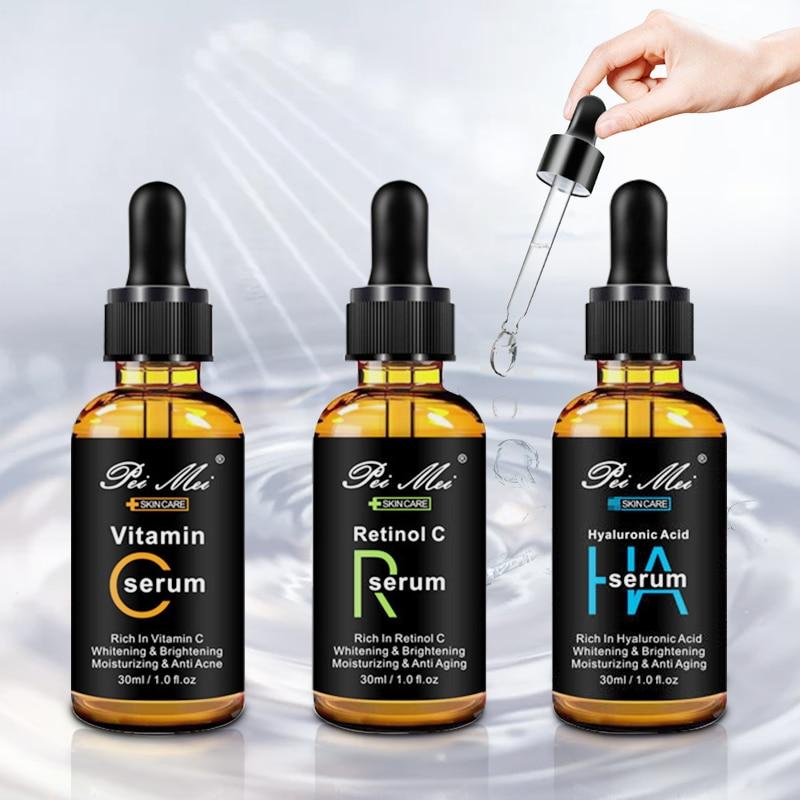 3PCS 30ml Facial Repair Skin Serum Retinol C Vitamin C Hyaluronic Acid Serum Firming Anti-Wrinkle Anti-Aging Anti Acne Serum