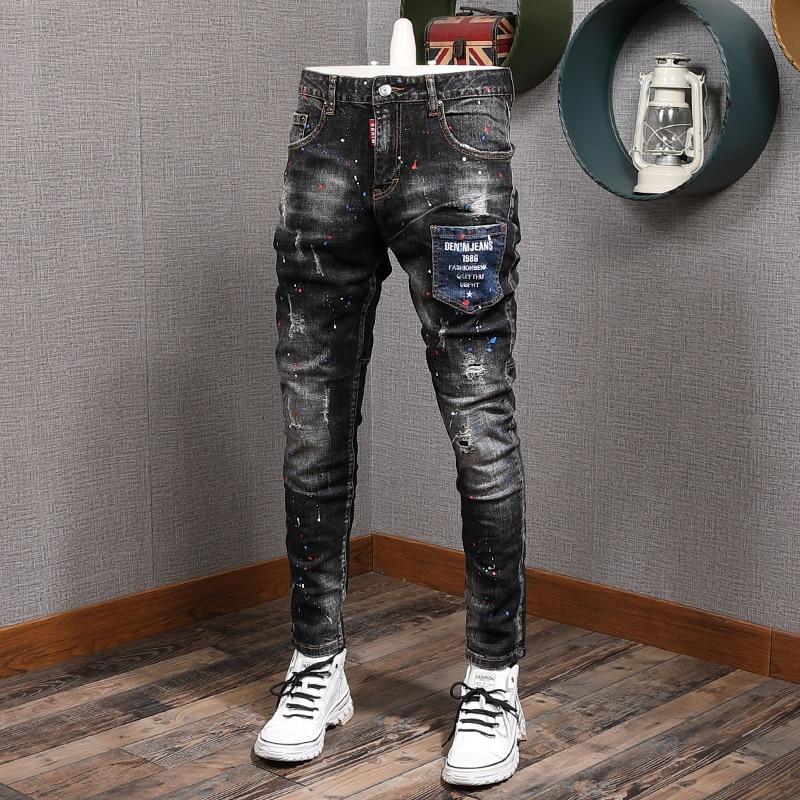 AliExpress - Newly Designer Fashion Men Jeans Italian Vintage Painted Retro Ripped Denim Pants Streetwear Elastic Slim Fit Hip Hop Trousers
