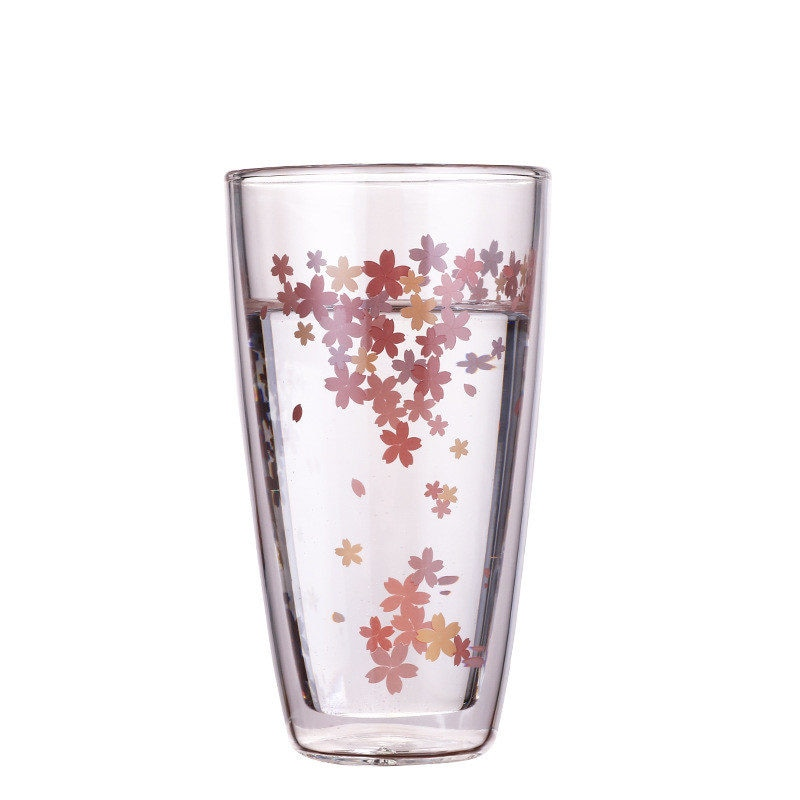 Nuevo 350ml Japón Sakura taza de té de vidrio doble bebida Vaso de Leche aislamiento térmico taza de agua transparente regalos creativos