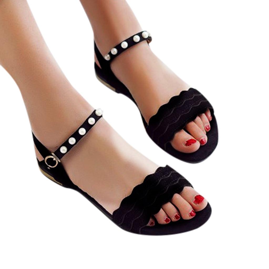 SAGACE Ladies summer shoes women word strap buckle sandals peep toe pumps shoes comfortable and stylish sandalia feminina
