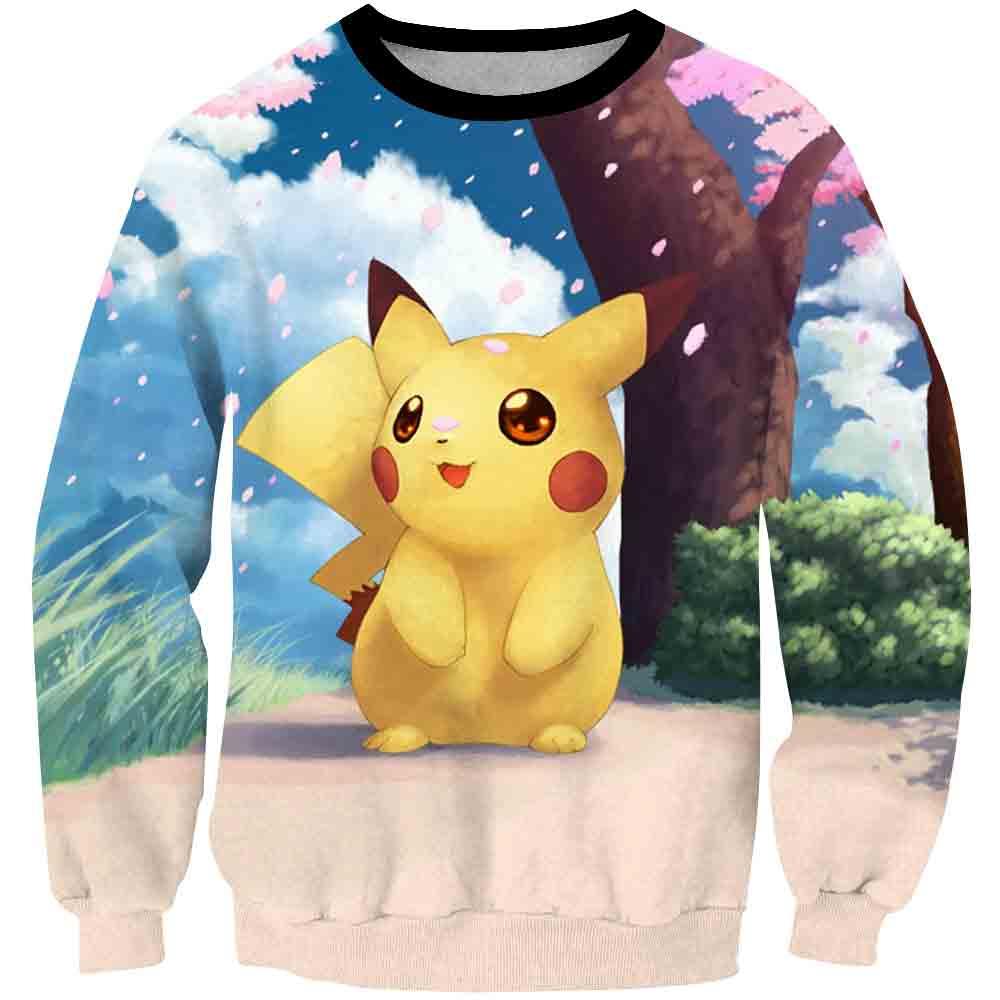 ¡Novedad del 2020! Sudaderas con capucha de Pikachu de dibujos animados de Anime para niños y niñas, sudaderas con estampado de Pokemon en 3D, traje de moda para niños, Jersey