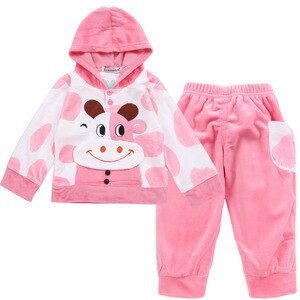 Warm Clothes For Girl Velvet Sport Winter Autumn Cow Rabbit Toddler Long Sleeves Hooded Top+pants1 2 3 year Baby Girl Clothes