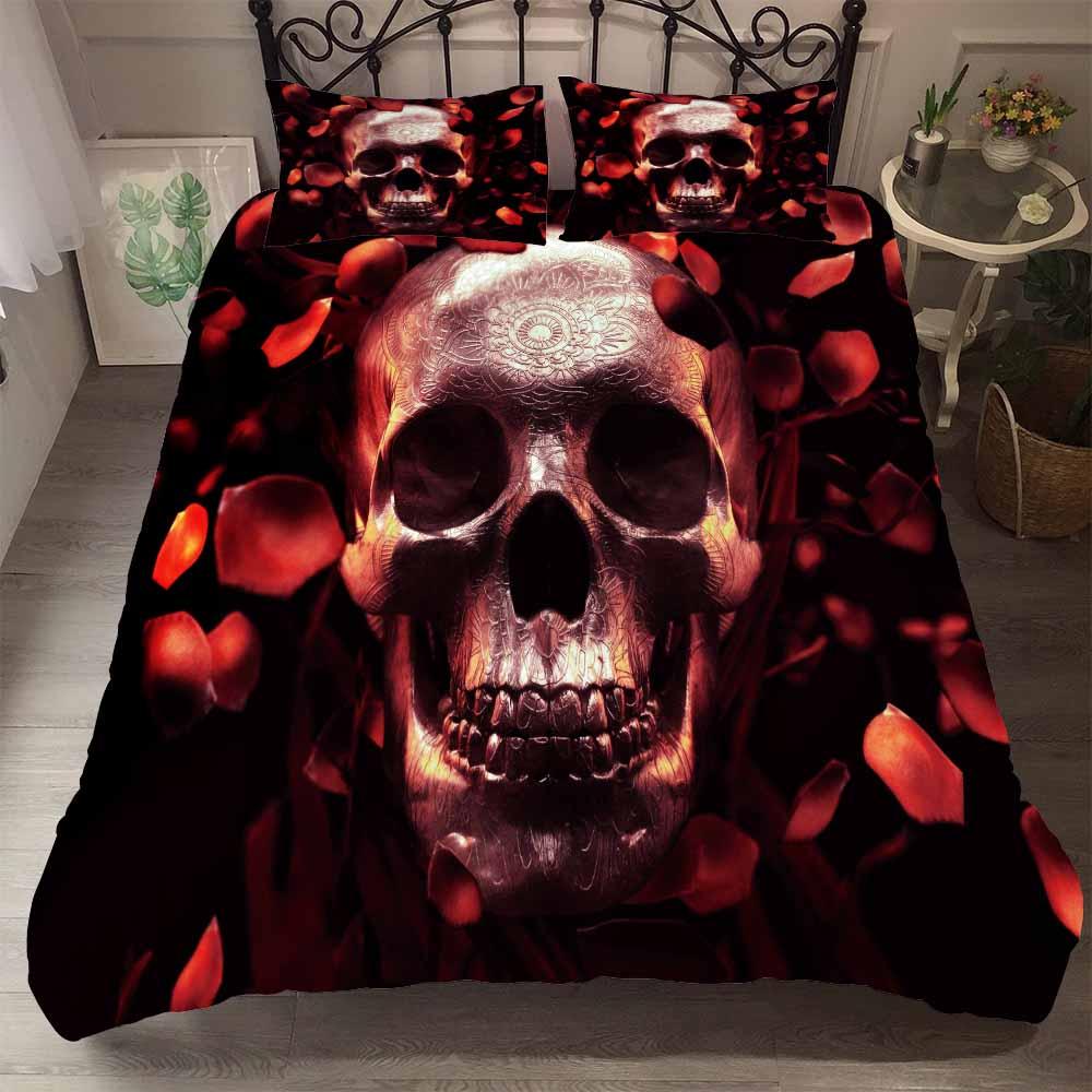 Mejor. WENSD personalizado duver cover + Fundas de almohada ropa de cama-set extragrande queen skull beddings nuevo azúcar juego de ropa de cama con calavera Halloween