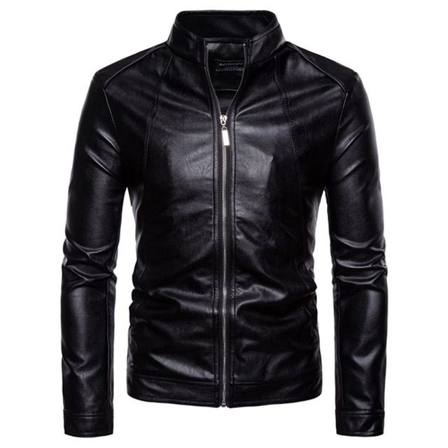 The New Spring And Autumn 2021 Men's Korean Version Slim-Fitting Stand-Up PU Leather Jacket Plus Size M-5XL