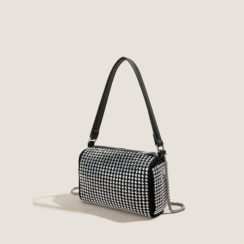 Female Bag New Style 2021 Chain Rhinestone Bag Diagonal Small Square Bag Trendy Underarm Shoulder Bag Bags