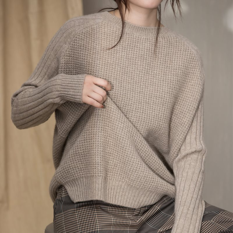 Women's winter sweater high quality round collar long sleeve loose casual knitted pullover cashmere sweater women brief round collar color block knitted women pullover
