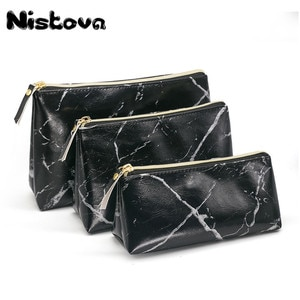 PU Marble Pattern Women Makeup Brushes Pouch Wash Toiletry Bag Girls Travel Lady Zipper Cosmetic Bag Set Pouch Storage Organizer