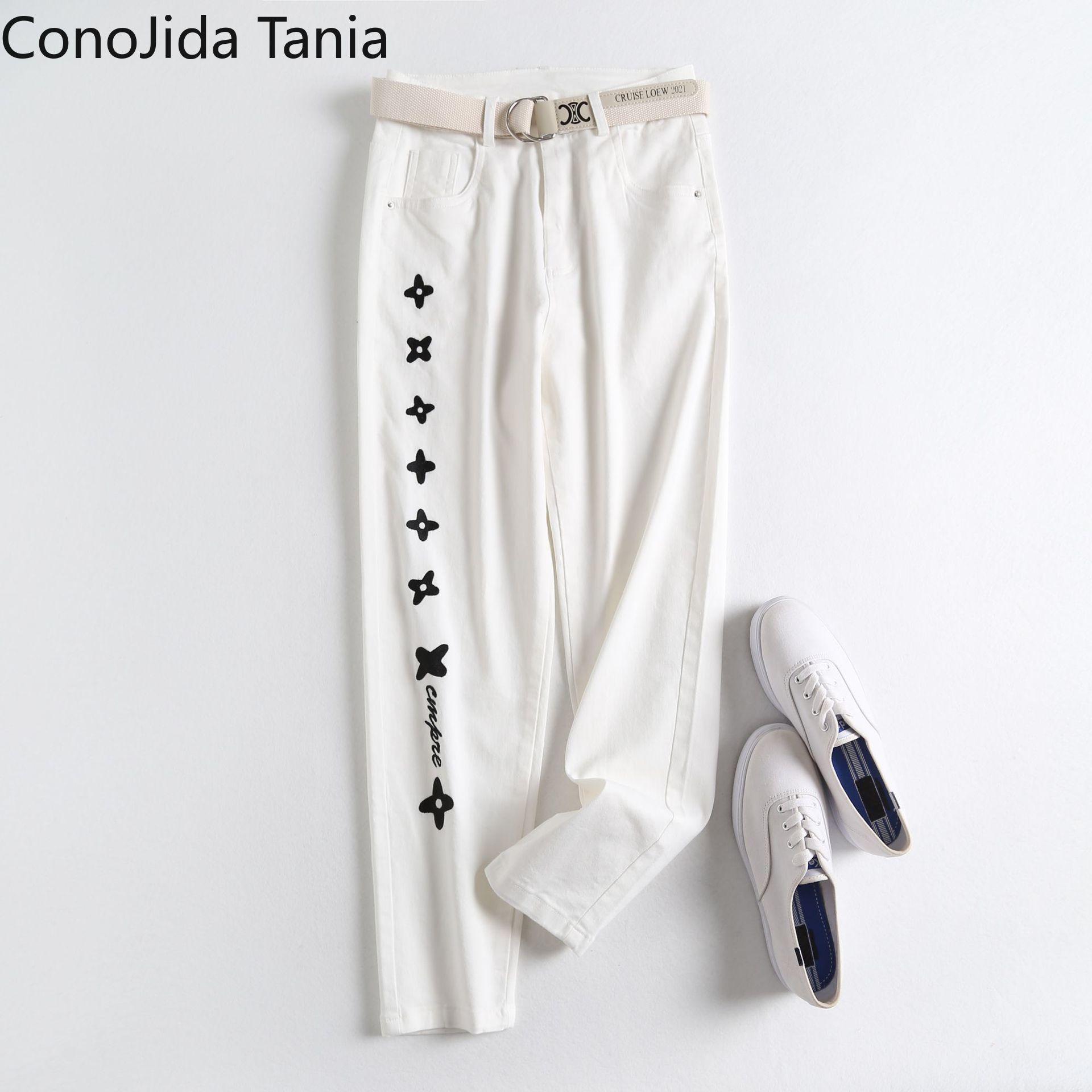 nova cintura alta feminina coreana com cinto bordado denim harem calcas