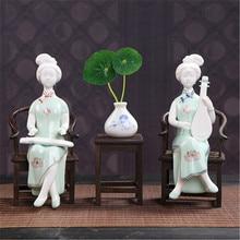 Creative Retro Chinese Classical Beauty Statue Celadon Lady Decorations Living Room Desktop Home Decor A1524