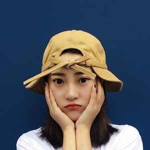 New Bucket Hat Female Summer and Autumn Solid Color Bow Panama Outdoor Hiking Beach Fishing Hat Sunscreen Female Sun Hat Bob