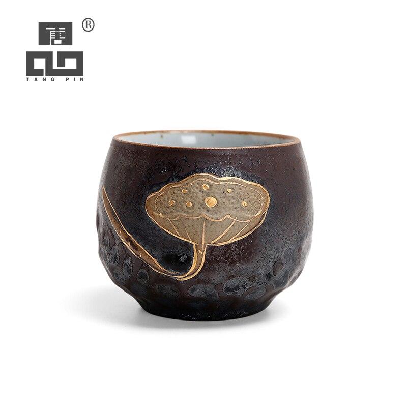 Tangpin cerâmica xícara de chá lotus puer xícaras porcelana chinês kung fu copo drinkware 130ml