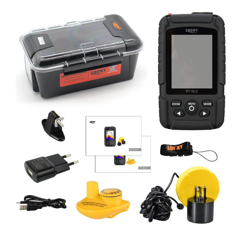 LUCKY Portable Fish Finder Monitor 2 in 1 200KHz/83KHz Dual Sonar Frequency 328ft/100m Detection Depth Echo Sound enlarge