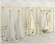 Nano gold wedding dress floor-standing high-end display stand dress suit double hanging hangers bridal shop dedicated