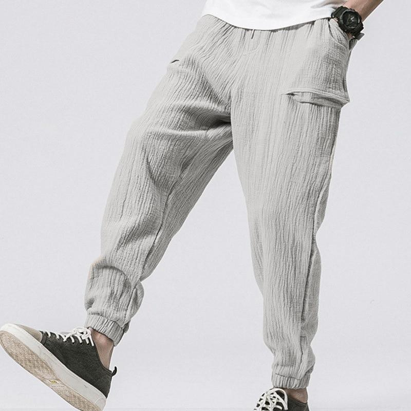 Брюки мужские хлопковые с карманами, повседневные Джоггеры для фитнеса с поясом на резинке, уличная одежда, весна-лето