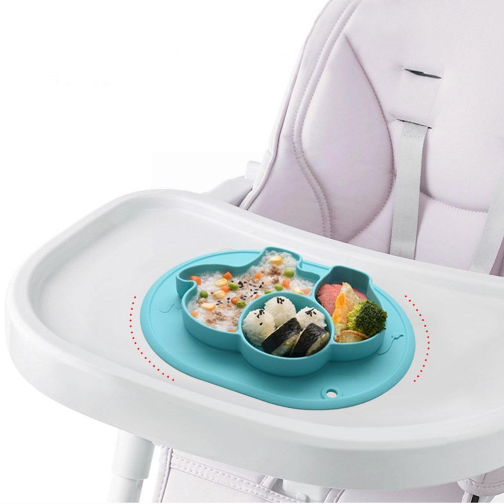 Newborn Baby Silicone Grid Plate with Suction Base Plate Tray Divided Toddler Candy Color Feeding K6R8