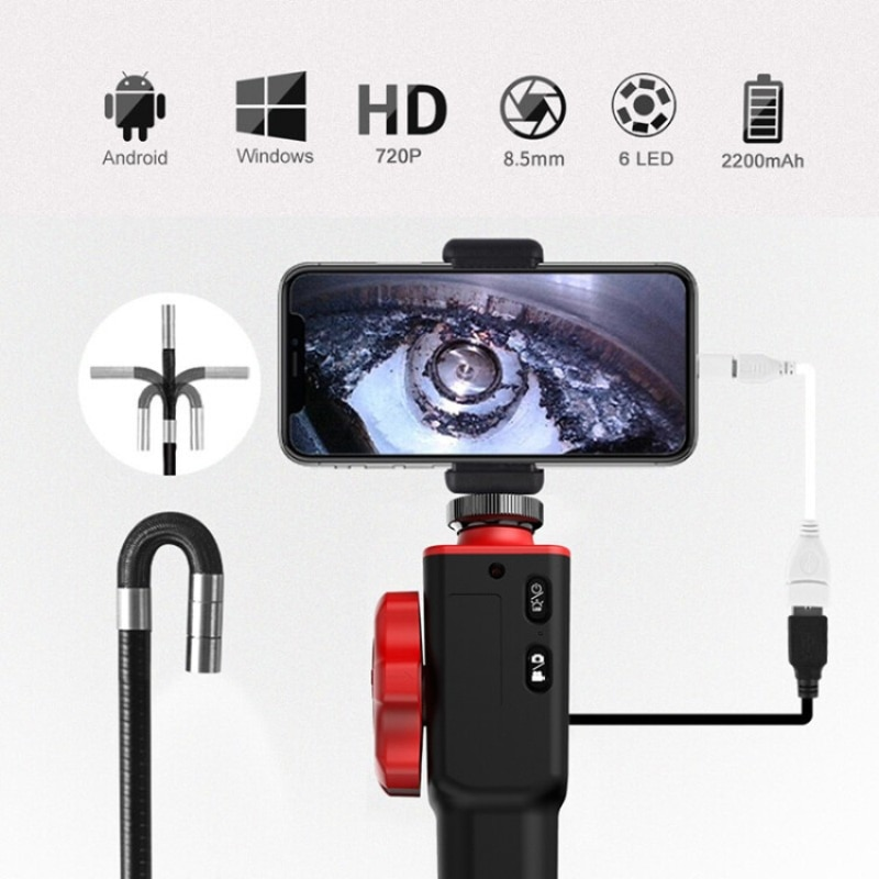 Review Handheld 360 Degree 2 Way Steering Industrial Endoscope Tube Camera Video Flexible 8.5mm for Engine Car Drain Pipe Inspection