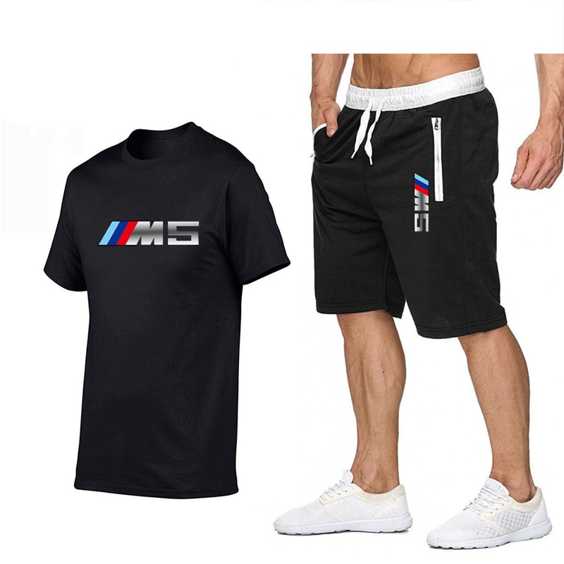 2021 Summer New Men s Casual Short Sleeve T-shirt Sports Suit Large Size Shorts + T- Shirt Set Tees Print Tops O-neck
