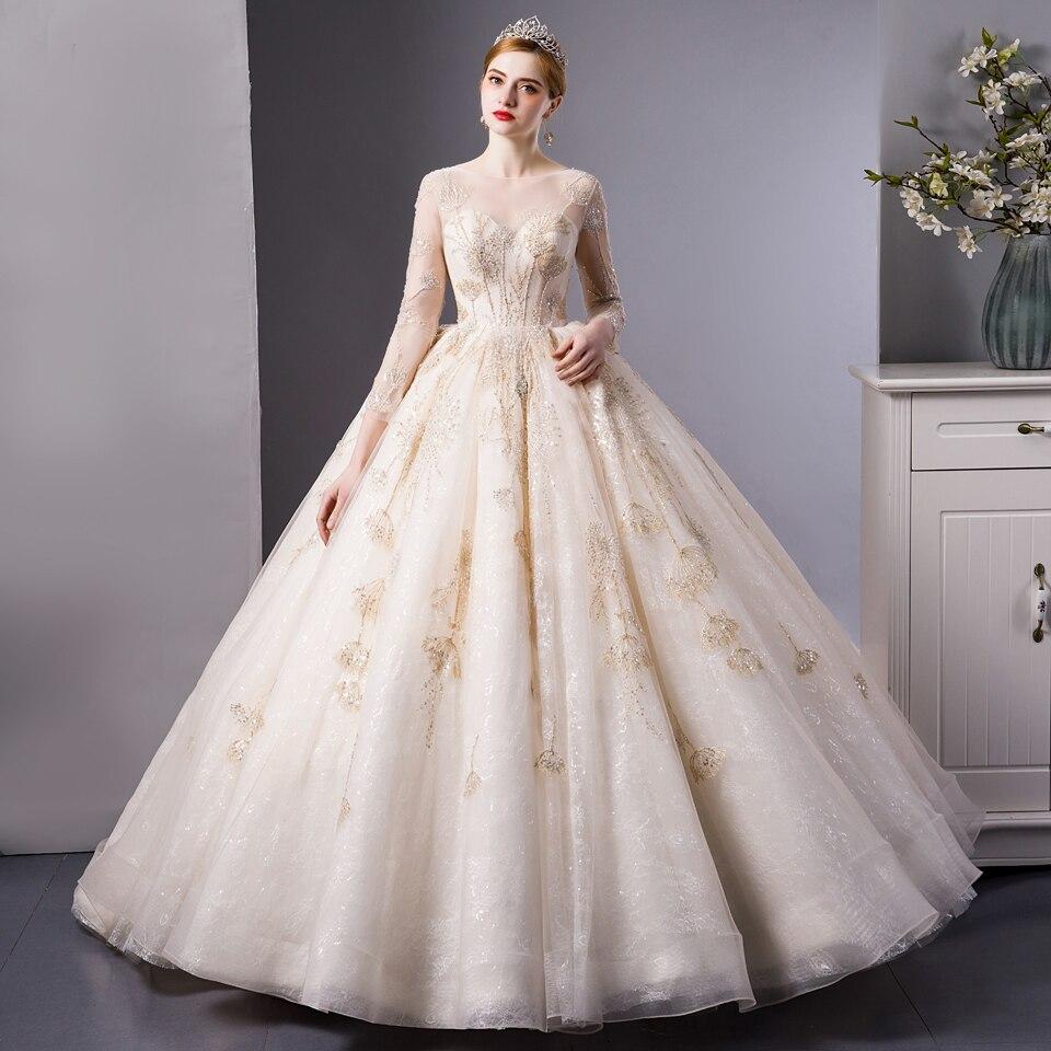 Vestido de novia de manga larga, encaje dorado, sexy, 6103