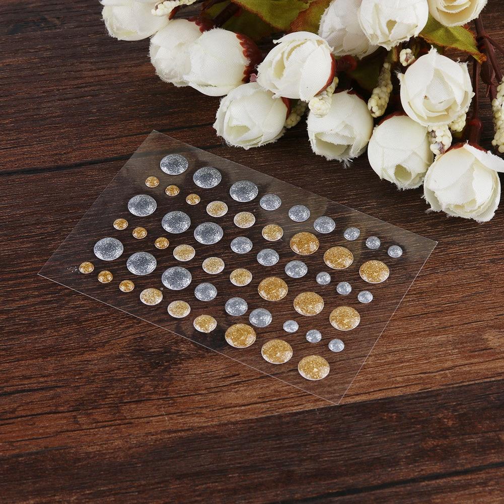 Золотистые Серебристые блестящие самоклеящиеся эмалевые точки, полимерные наклейки для рукоделия, скрапбукинга, фотографий, декора