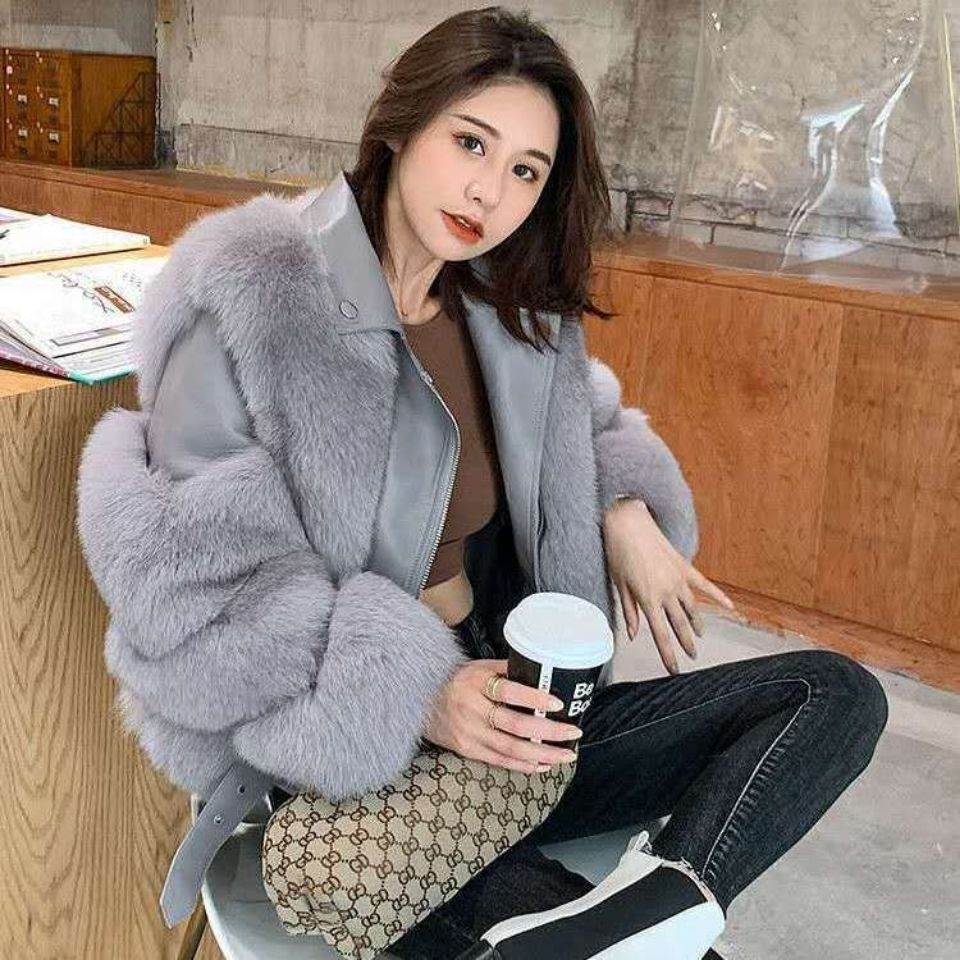 2021 new motorcycle jacket female imitation fox fur Pu stitching zipper suit collar coat is thin and fashionable
