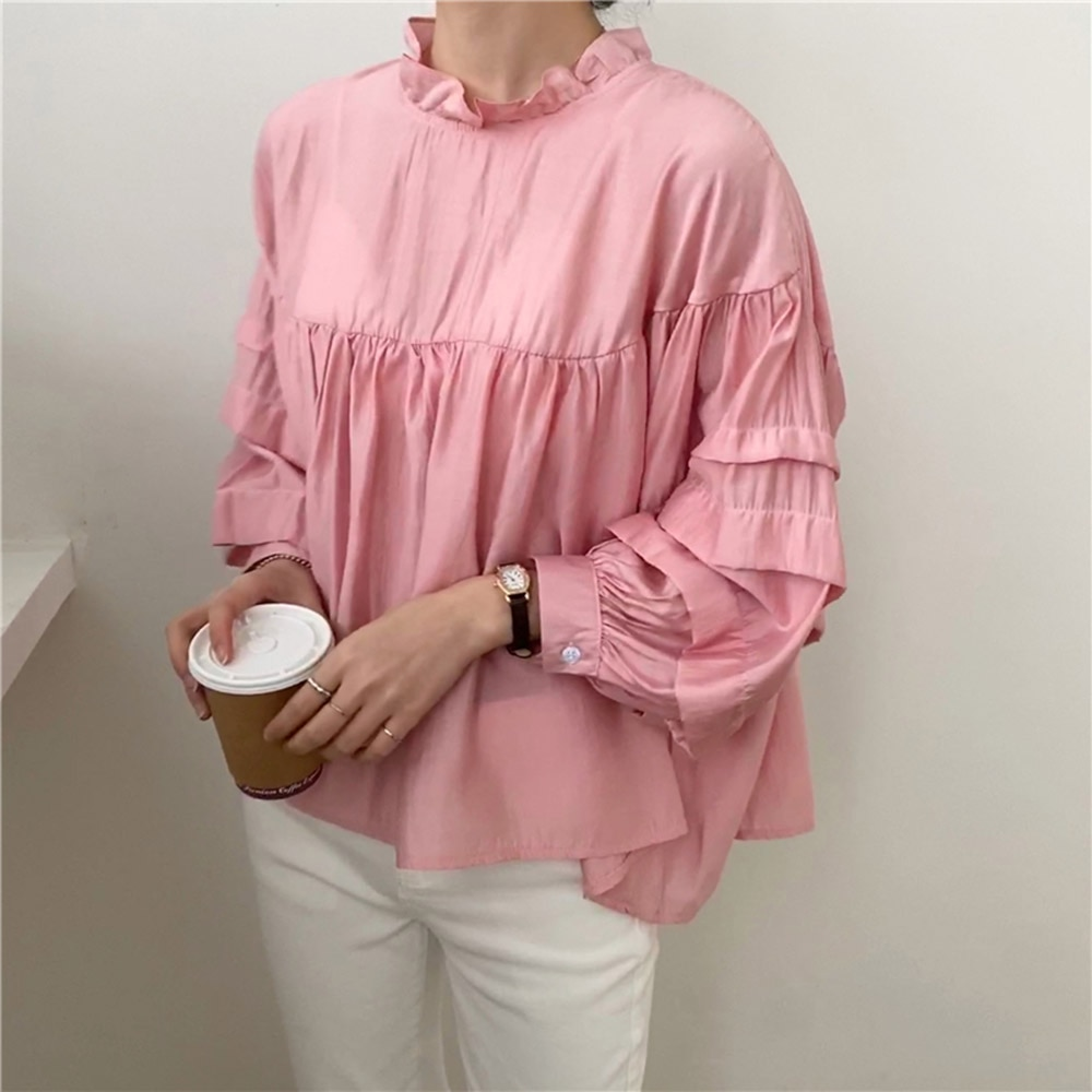 Autumn New 2021 Fashion Casual Solid Color Round Neck Lantern Sleeve Blouse Japanese Style Korean Fa