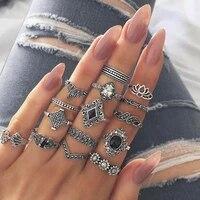 2020 new 15 pcsset bohemian woman rings retro crystal flower leaves hollow lotus gem set ring women gift jewelry