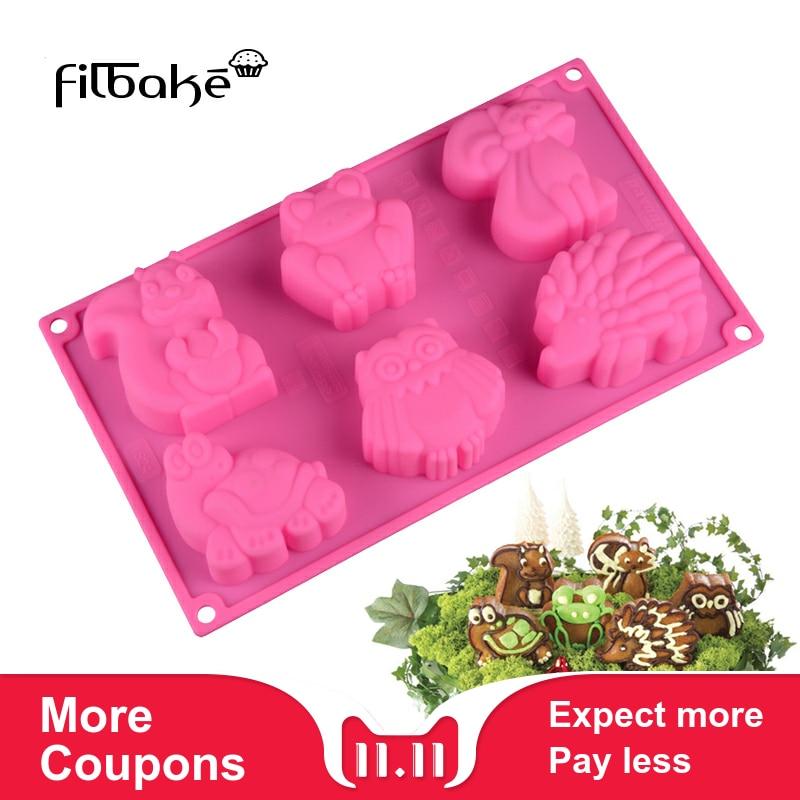 FILBAKE, molde de pastel con forma de Animal de 6 agujeros, molde de silicona para manualidades de rana, canguro, Tortuga, erizo, para hacer gelatina y Chocolate, herramientas para hornear