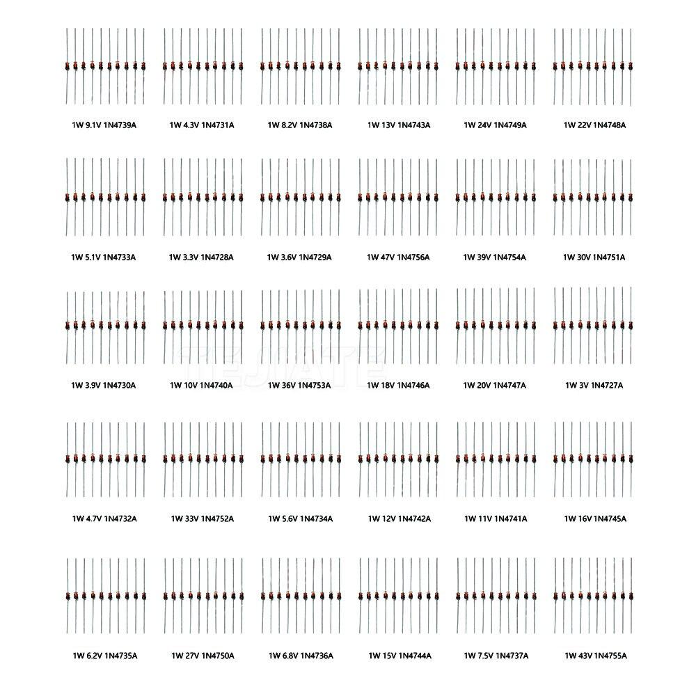 1W de diodos Zener set de diodos surtidos (3V 3,3 V 3,6 V 5,1 V 5,6 V 7,5 V 10V 12V 13V 15V 16V 18V 20V 22 estabilizador de voltaje