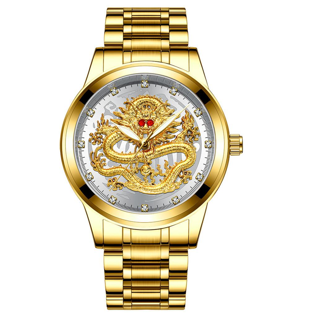 Reloj FNGEEN dorado de lujo para hombre, reloj mecánico 3d Cnc Life resistente al agua con cara de dragón, reloj de pulsera totalmente lisa