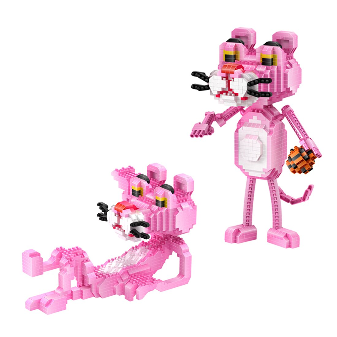 Juguetes de regalo con imagen de dibujo de animé japonés clásico de los creativos hot lepining Pantera Rosa mini modelo de bloques de construcción de micro diamantes