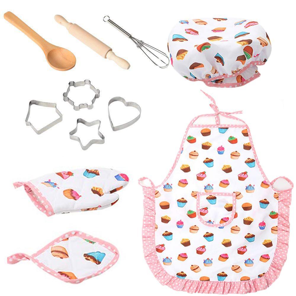 Детский набор для приготовления пищи и выпечки, с шапкой шеф-повара, фартуком, варежкой и посудой для приготовления пищи, форма для имитации ...