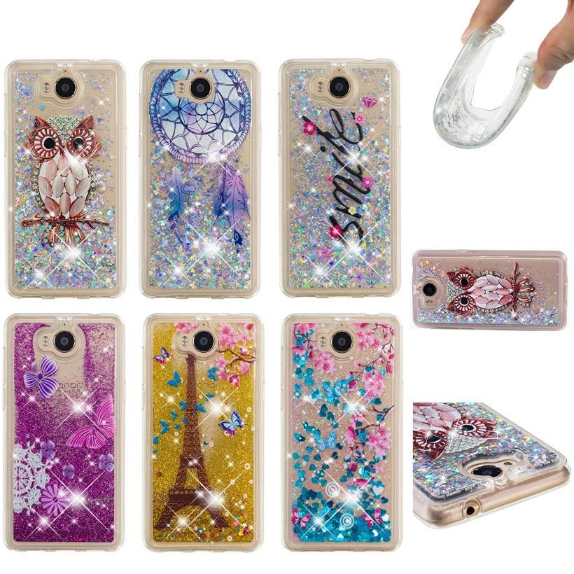Soaptree caso do telefone para huawei y6 2017 y5 2017 honra 6 jogar y5 iii y5 3 nova jovem 5.0 polegada glitter líquido macio tpu capa