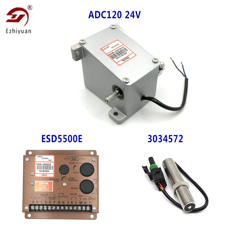 Ezhiyuan 1 Set محرك مولد الديزل ADC120 12 فولت/24 فولت مع ESD5500E سرعة المراقب المالي و 3034572 بيك اب الاستشعار
