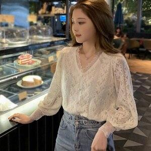 Women Sweet Lace Blouse Korean Fashion Long Sleeve Shirt Ladies Solid Color V Neck Blouses Top