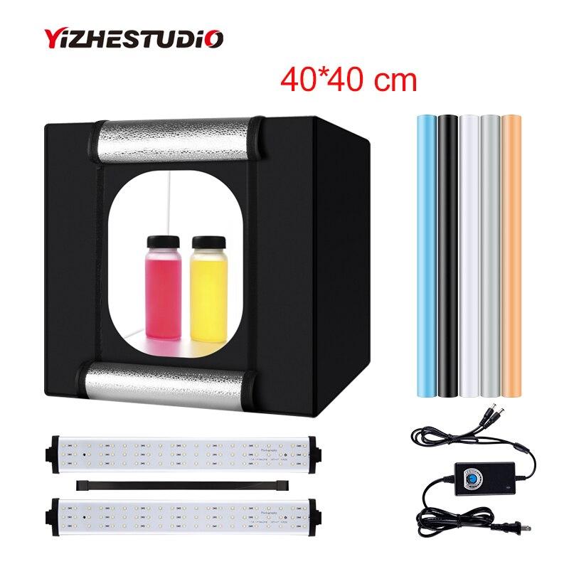 Yizhestudio 40*40 cm للطي photobox 2 لوحة مصباح ليد التصوير اطلاق النار خيمة مصباح LED للاستديو هات علبة الصور خلفية اكسسوارات