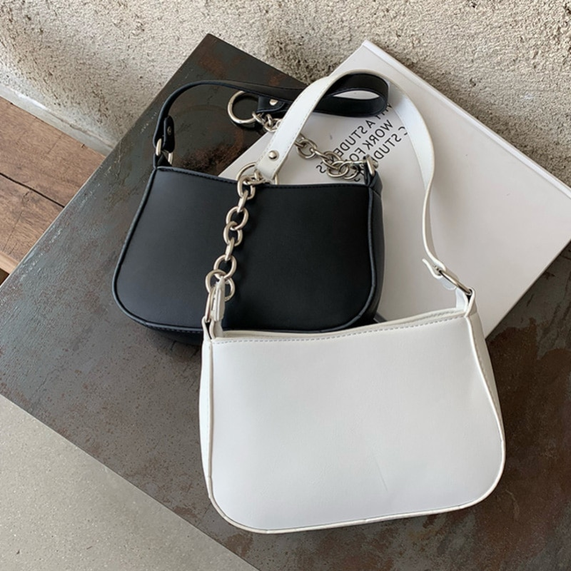 2020 Fashion Ladies Chain Shoulder Strap Shoulder Bags PU Leather Underarm Bags Summer Wild Top-Handle Bags Luxury Evening Bags