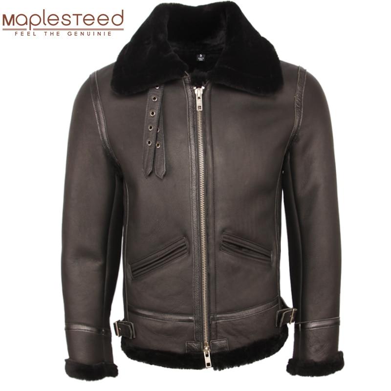 Classic B3 Fight Jacket 100% Natural Shearling Coat Men Pilot Leather Jacket Aviator Thick Fur Coat Winter Warm Clothing M361
