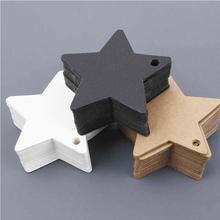 100 pièces Star Kraft papier étiquette mariage noël Halloween fête faveur prix carte cadeau bagages étiquettes blanc noir marron