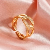 punk zircon chain ring for women hollow wide copper opening adjustable index finger ring korean fashion jewelry cool girl gift