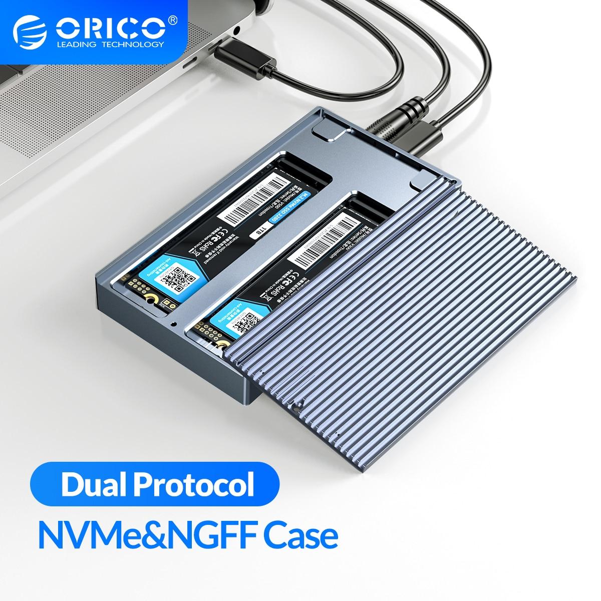 أوريكو LSDT المزدوج خليج المزدوج بروتوكول M2 SSD دعم M.2 NVME NGFF SATA SSD القرص ل M مفتاح & B + M مفتاح SSD ث/5V4A محول الطاقة