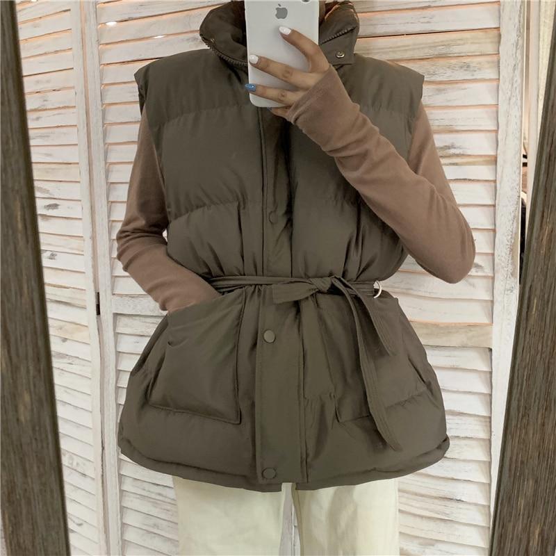HziriP Autumn 2019 New Female Vest Jacket Women Winter Coat Warm Women Parkas Solid Army Green Sleeveless Coats Parka 4 Colors