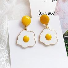 Boucles doreilles de personnalité coréennes, boucles doreilles œufs pochés, pour porter un caractère délicat, géométrique, pour femme