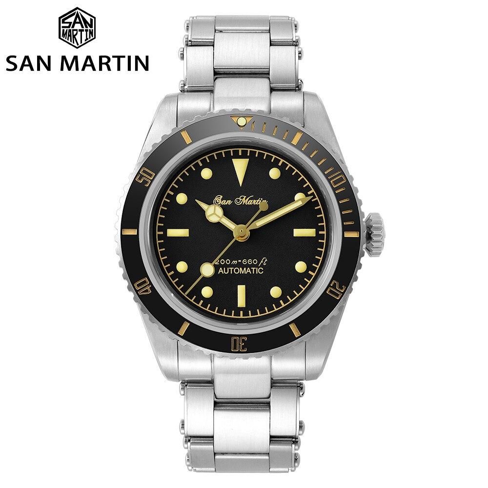 سان مارتن 6200 ريترو غواص ساعة المياه شبح فاخر الياقوت NH35 الرجال التلقائي ساعات آلية 20Bar مقاوم للماء مضيئة
